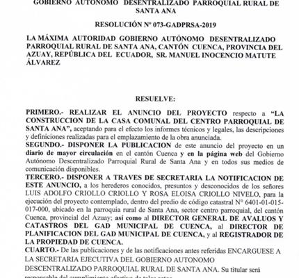 RESOLUCIÓN Nro. 073 GADPRSA-2019